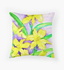 Yellow lilies Throw Pillow