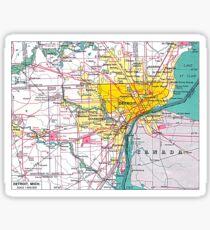 Detroit Michigan Map Sticker