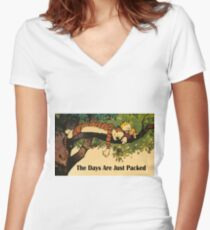 Calvin and Hobbes The Days Are Just Packed Women's Fitted V-Neck T-Shirt
