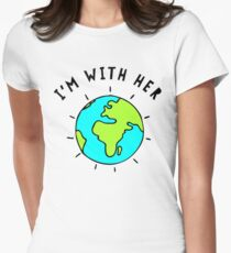 I'm With Her, Earth Womens Fitted T-Shirt