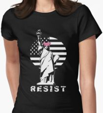Lady Liberty Pink Protest Womens Fitted T-Shirt