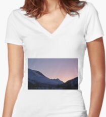 Mountains in snow Women's Fitted V-Neck T-Shirt