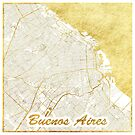 Buenos Aires Map Gold by HubertRoguski