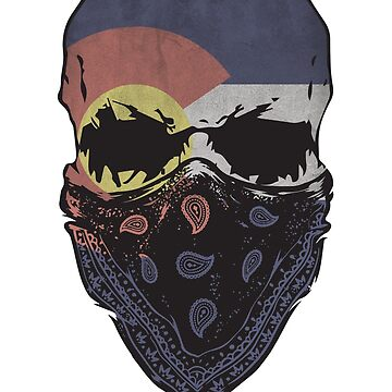 Colorado Flag Gangster Skull Graphic T-Shirt by np0341