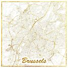 Brussels Map Gold by HubertRoguski