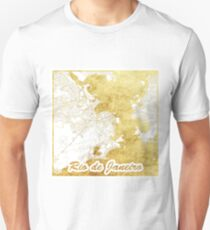 Rio de Janerio Map Gold Unisex T-Shirt