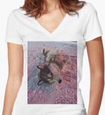 Husky Snow Dog  Women's Fitted V-Neck T-Shirt