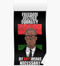 Malcom X Freedom Justice Equality By Any Means Necessary Poster