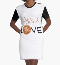 I Love Pizza Very Much Graphic T-Shirt Dress