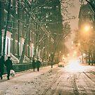 New York City - Winter Night - Snow Falls On Washington Square  by Vivienne Gucwa
