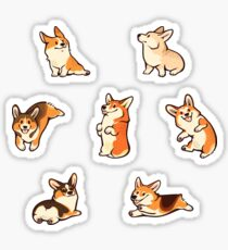 Jolly corgis in green Sticker