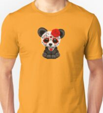 Red Day of the Dead Sugar Skull Panda on Yellow Unisex T-Shirt