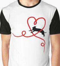 Black Cat Red Heart Cute Sweet Valentine Gift Art Graphic T-Shirt