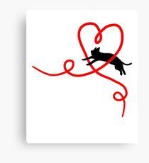 Black Cat Red Heart Cute Sweet Valentine Gift Art Canvas Print