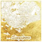 Singapur Karte Gold von HubertRoguski