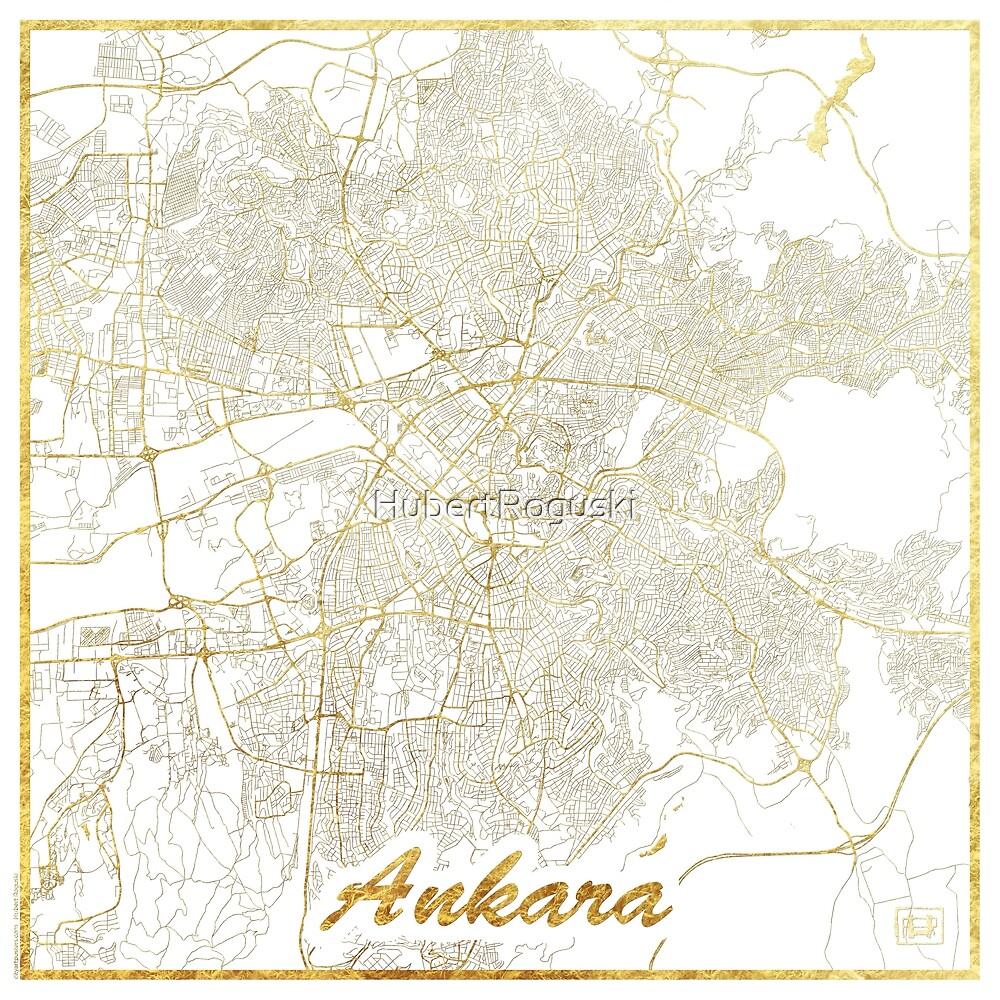 Ankara Map Gold by HubertRoguski