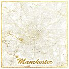 Manchester Map Gold by HubertRoguski