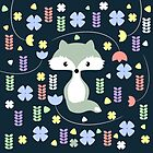 Cute fox among flowers by cocodes