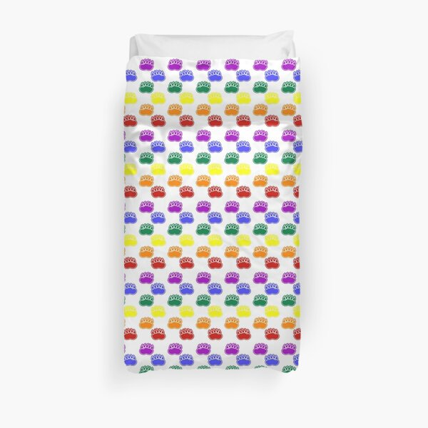 Rainbow Pride Paws (vertical) Duvet Cover