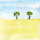 Two trees watercolour painting  by Simon Rudd