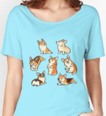 Jolly corgis in green Women's Relaxed Fit T-Shirt