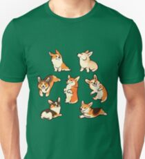 Jolly corgis in green Unisex T-Shirt