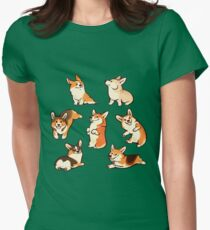 Jolly corgis in green Women's Fitted T-Shirt