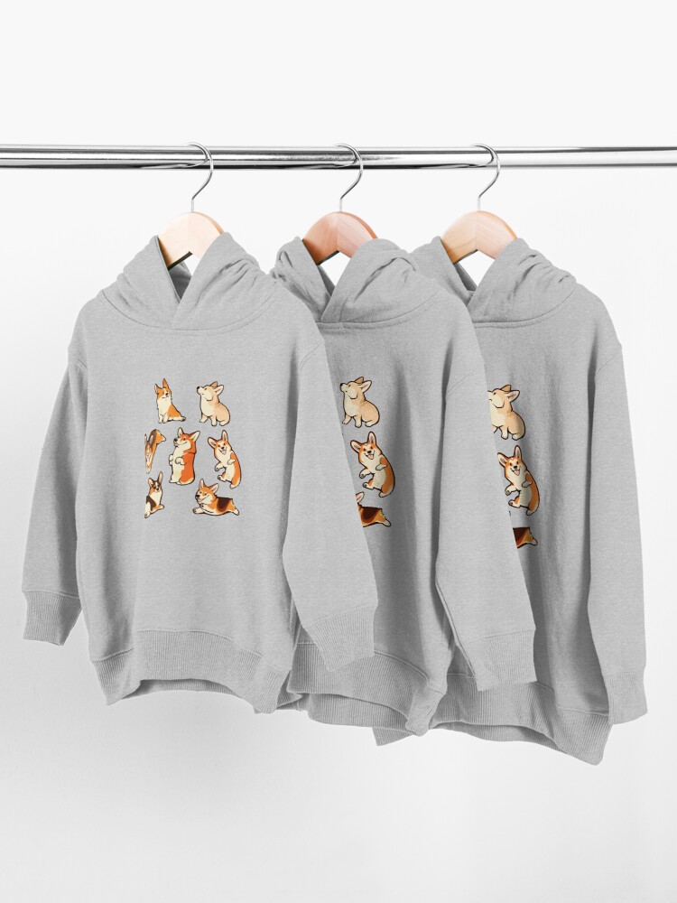 Alternate view of Jolly corgis in green Toddler Pullover Hoodie