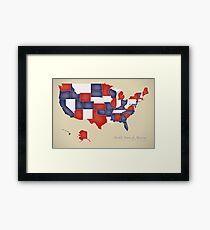 USA map artwork with national flag colors illustration Framed Print