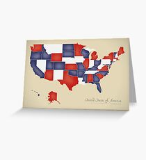 USA map artwork with national flag colors illustration Greeting Card