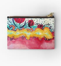 Caterpillar, abstract ink painting. Studio Pouch