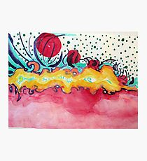 Caterpillar, abstract ink painting. Photographic Print