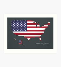 USA map special artwork style with flag illustration Art Print