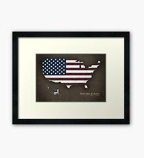 USA map special vintage artwork style with flag illustration Framed Print