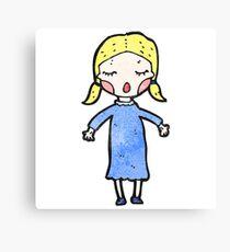 cartoon pretty blond girl Canvas Print
