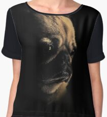 Pug In Black Dog Puppy Love Animal Animals Chiffon Top