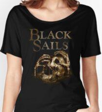 Black Sails Golden Skull Logo Women's Relaxed Fit T-Shirt