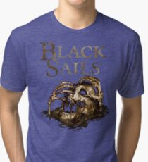 Black Sails Golden Skull Logo Tri-blend T-Shirt