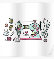 I Love To Sew Poster