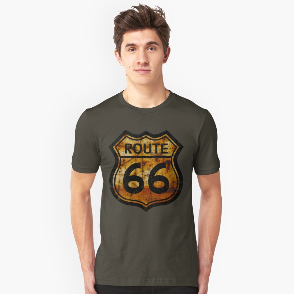 ROUTE 66 RUSTED SIGN Slim Fit T-Shirt