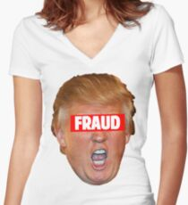 TRUMP: FRAUD Women's Fitted V-Neck T-Shirt