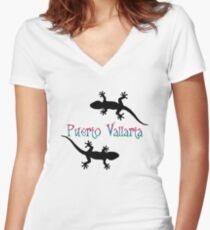 Puerto Vallarta Women's Fitted V-Neck T-Shirt