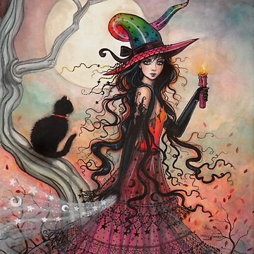 October Flame Witch Cat Fantasy Art by Molly Harrison by robmolily