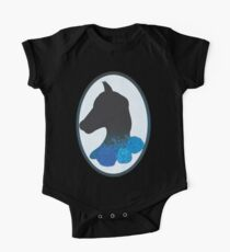 Blue and Black Horse Silhouette with Flowers One Piece - Short Sleeve