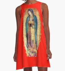 Our Lady of Guadalupe Virgin Mary Tilma Red A-Line Dress
