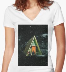 A house in space Women's Fitted V-Neck T-Shirt