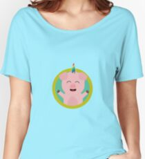 Unicorn Pig in green circle Women's Relaxed Fit T-Shirt