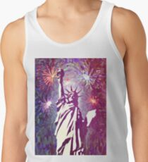 Statue Liberty 4th of July Fireworks 2a Tank Top