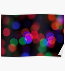 Large coloured party lights at night Poster