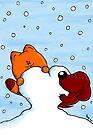 Cat and dog in love in winter von Bastian Melnyk